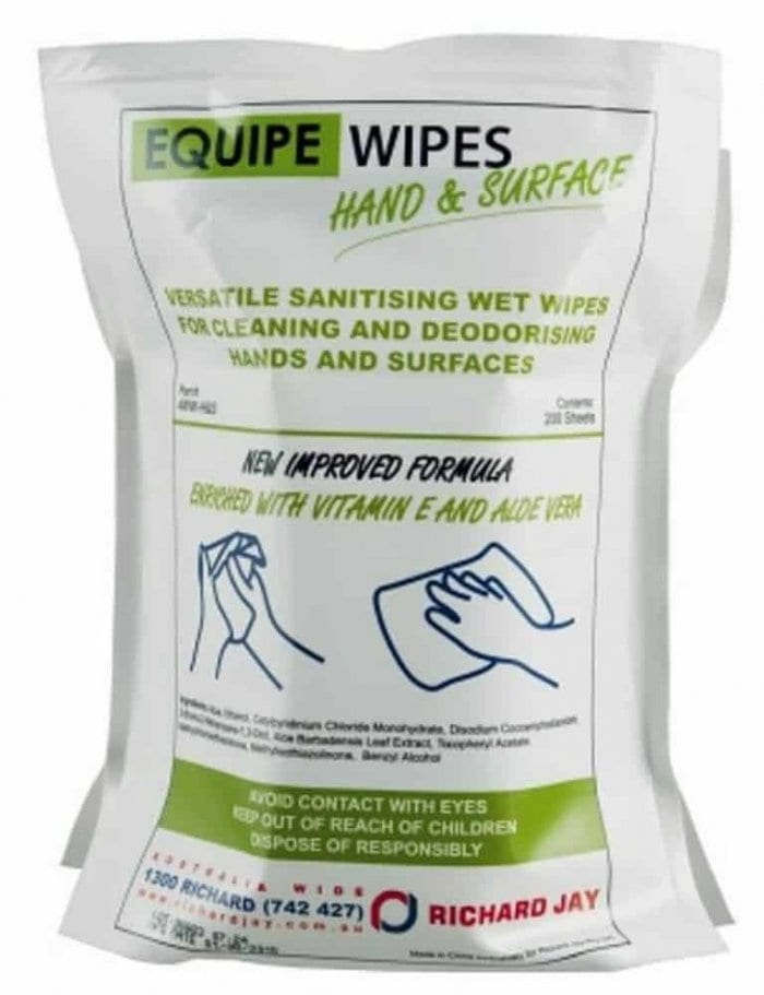 Equipe wipes, hand wipes, diesel wipes, sanitising wet wipes, surface wipes
