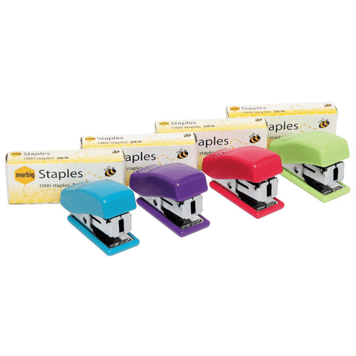 Marbig mini stapler with staples assorted colours