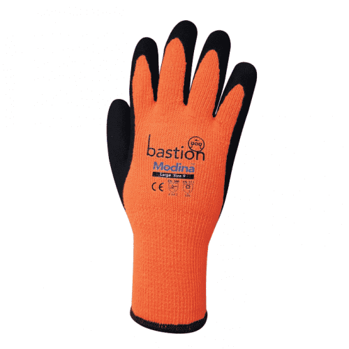bastion glove, bastion modina glove, safety gloves, oh&S glove, workplace glove, work glove, thermal glove, orange glove, bastion thermal glove