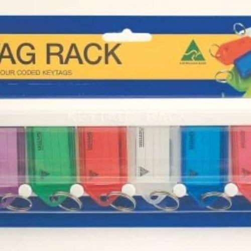 keyring, key tag, name tag, coloured key identifier, coloured key tag, keytag rack, key tag rack, key tag holder
