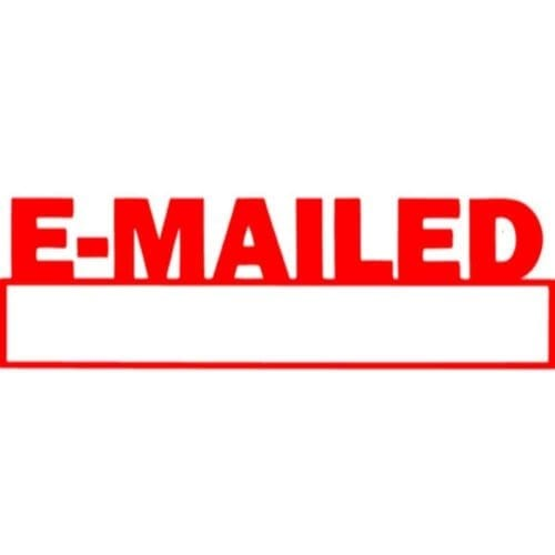 Preinked stamp, office stamp, Emailed stamp, e-mailed stamp, red emailed stamp