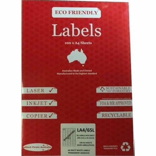 A4 labels, 65 labels per sheet, Address labels, Avery labels