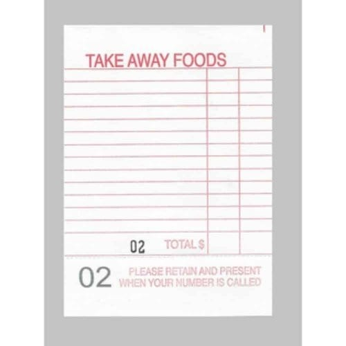 restaurant docket book, takeaway order book, restaurant order book,