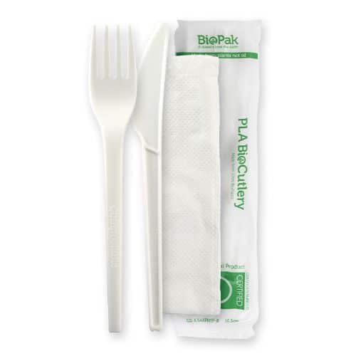 """Cutlery Set 6.5"""" PLA KNIFE, FORK, NAPKIN set"""